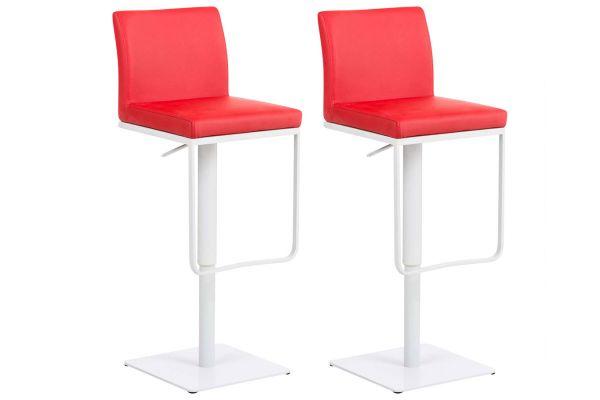 2er Set Barhocker Panama Kunstleder weiß rot
